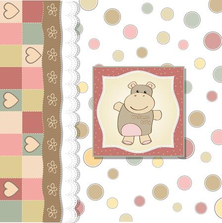 girl shower: ni�a de infantil de bienvenida al beb� hipop�tamo tarjeta con juguetes Vectores