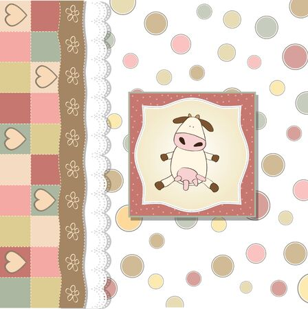happy birthday girl: new baby announcement card with cow  Illustration