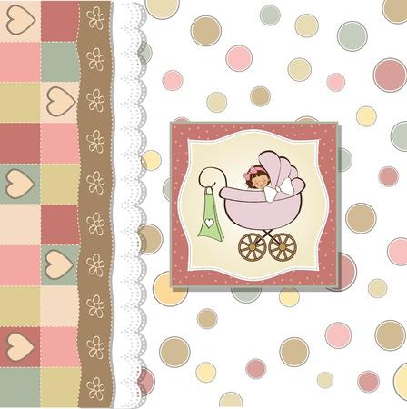 cochecito de bebe: aviso de la ni�a tarjetas Vectores