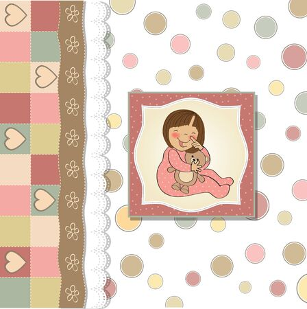 baby sleep: little baby girl play with her teddy bear toy  Illustration