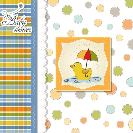 child birth: baby shower card with duck toy