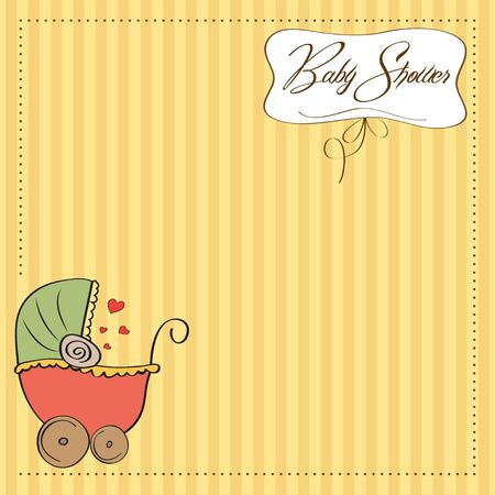 baby shower announcement card with pram Stock Vector - 12815974