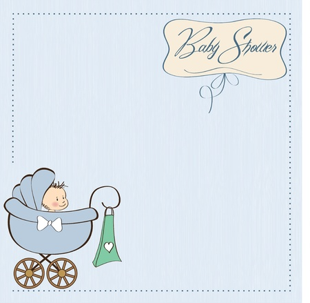 baby boy announcement card with baby and pram Stock Vector - 12816185