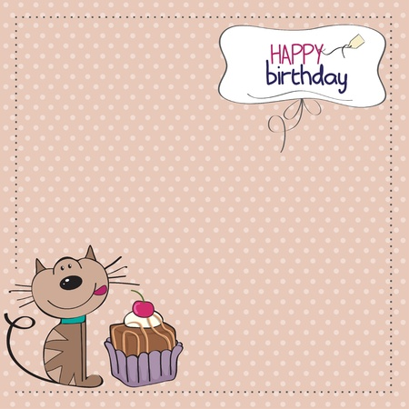 happy people eating: birthday greeting card with a cat waiting to eat a cake
