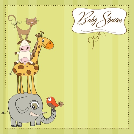 funny baby shower card with pyramid of animals Stock Vector - 12816013
