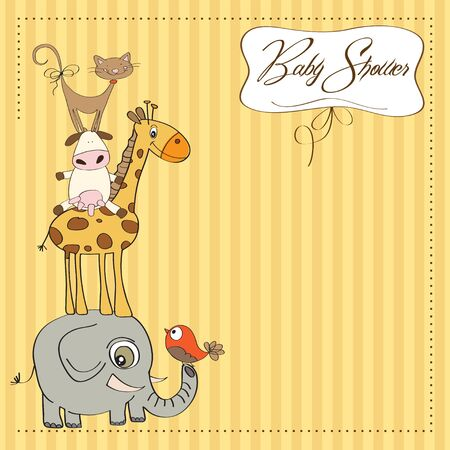 funny baby shower card with pyramid of animals Stock Vector - 12816015