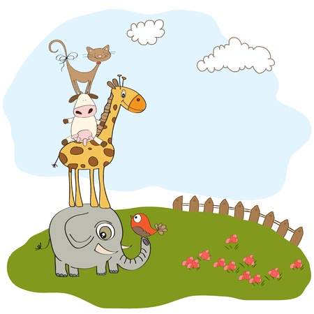 funny baby shower card with pyramid of animals