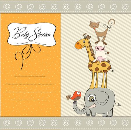 funny baby shower card with pyramid of animals Stock Vector - 12816184