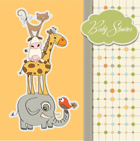 funny baby: funny baby shower card with pyramid of animals