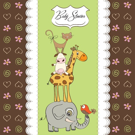 funny baby shower card with pyramid of animals Vector