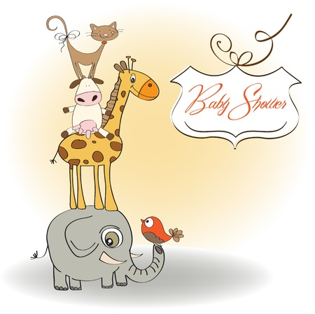 funny baby shower card with pyramid of animals Stock Vector - 12816286