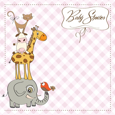 nice girls: funny baby shower card with pyramid of animals