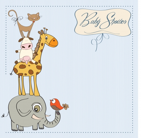 cute baby girls: funny baby shower card with pyramid of animals
