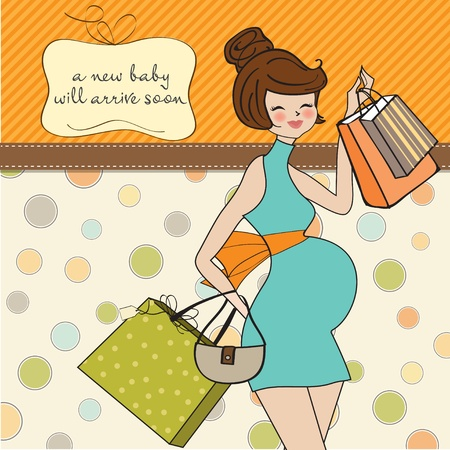 Beautiful pregnant woman on shopping for her new baby  Vector Illustration Stock Vector - 12816039