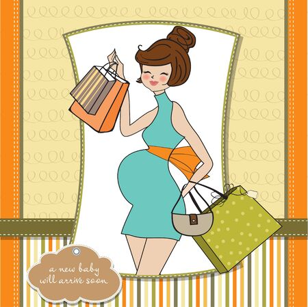 Beautiful pregnant woman on shopping for her new baby  Vector Illustration