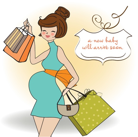 Beautiful pregnant woman on shopping for her new baby  Vector Illustration Stock Vector - 12816289