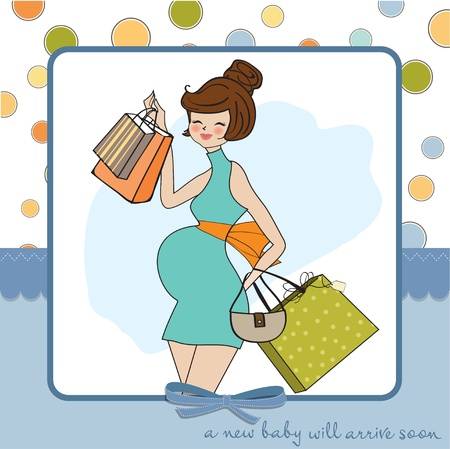 Beautiful pregnant woman on shopping for her new baby  Vector Illustration   Vector