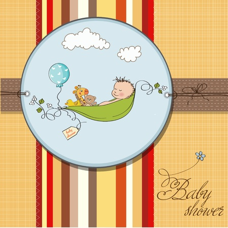 baby boy shower: little boy sleeping in a pea been, baby announcement card