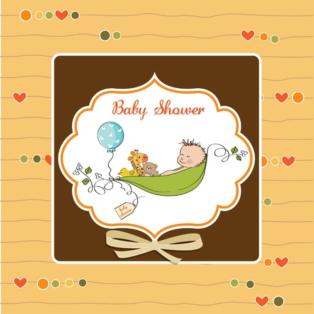 little boy sleeping in a pea been, baby announcement card Stock Vector - 12816036