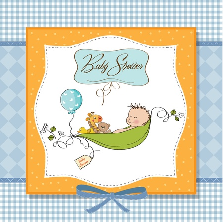 little boy sleeping in a pea been, baby announcement card Stock Vector - 12816227