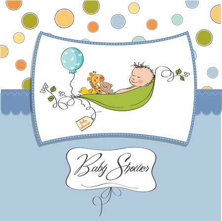 little boy sleeping in a pea been, baby announcement card Stock Vector - 12816044