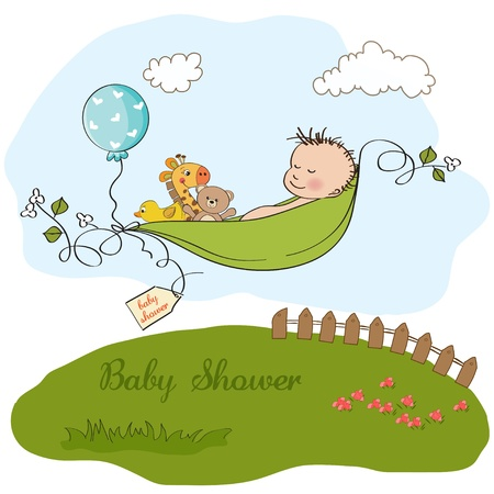 little boy sleeping in a pea been, baby announcement card  Vector