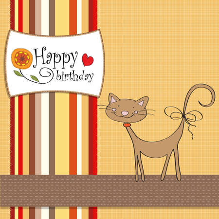 birthday greeting card with cat
