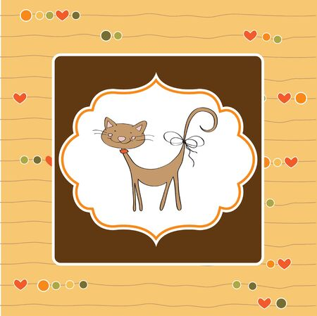 greeting card with cat  Vector