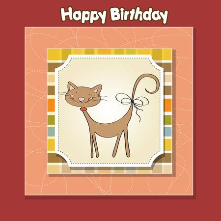 birthday greeting card with cat Stock Vector - 12816050