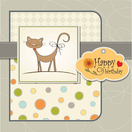 birthday greeting card with cat Stock Vector - 12816211