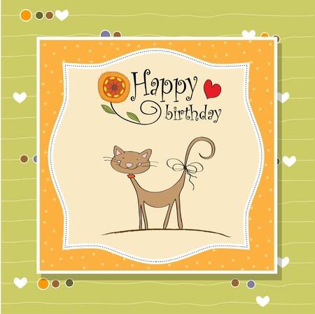 happy birthday girl: birthday greeting card with cat