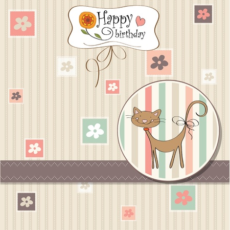 cute little boy: birthday greeting card with cat