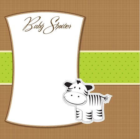 childish greeting card with zebra  Vector