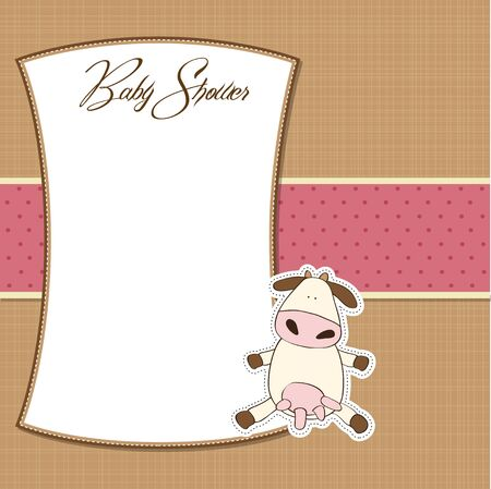 new baby girl shower card with cow  Illustration