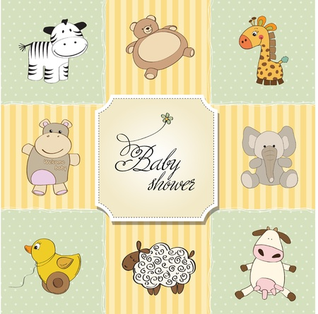 baby shower card template  vector illustration Stock Vector - 12816221