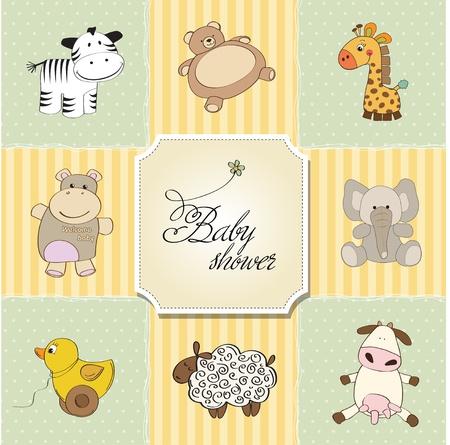 hippopotamus: la ducha del beb� plantillas de tarjeta de ilustraci�n vectorial Vectores
