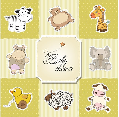 baby shower card template  vector illustration Stock Vector - 12816255