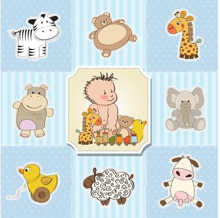 cochecito de bebe: la ducha del beb� plantillas de tarjeta de ilustraci�n vectorial Vectores