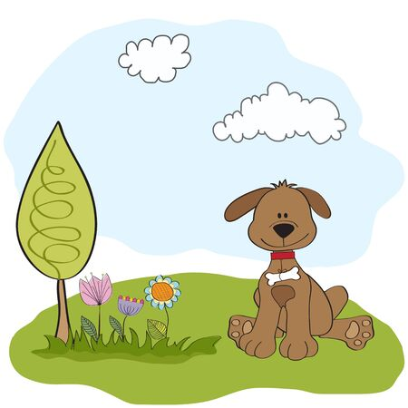 spring greeting card with dog  Vector
