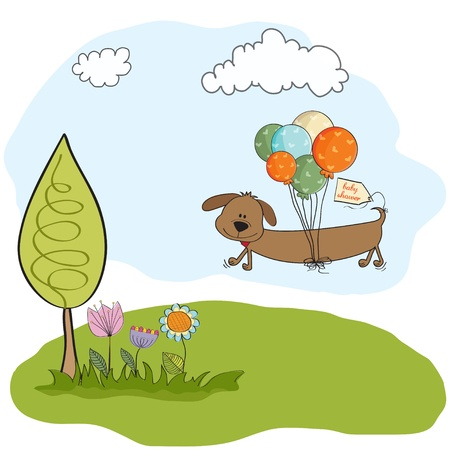 fly cartoon: baby shower card with long dog and balloons