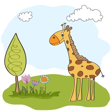 spring greeting card with giraffe Vector