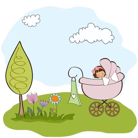 nacimiento bebe: aviso de la niña tarjetas Vectores