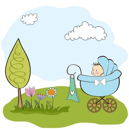 del aviso del beb� tarjeta con el beb� y cochecito de ni�o