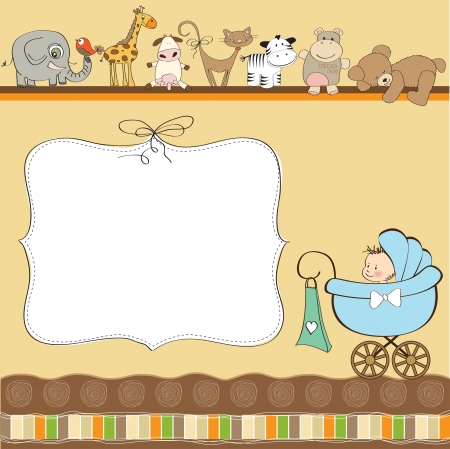 baby boy shower: baby shower card  Illustration