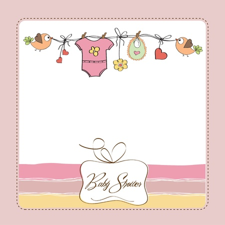 child birth: baby girl shower card