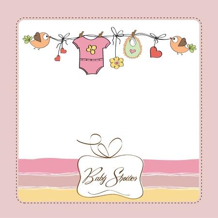 birth announcement: baby girl shower card