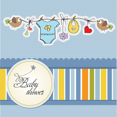 clothes hanging: baby boy shower card