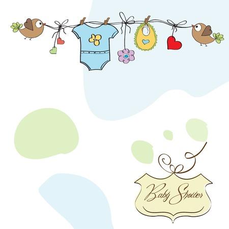 hanging girl: baby boy shower card