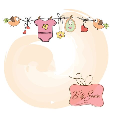 baby girl shower card  Stock Vector - 12835024