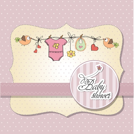 baby girl shower card  Stock Vector - 12835066